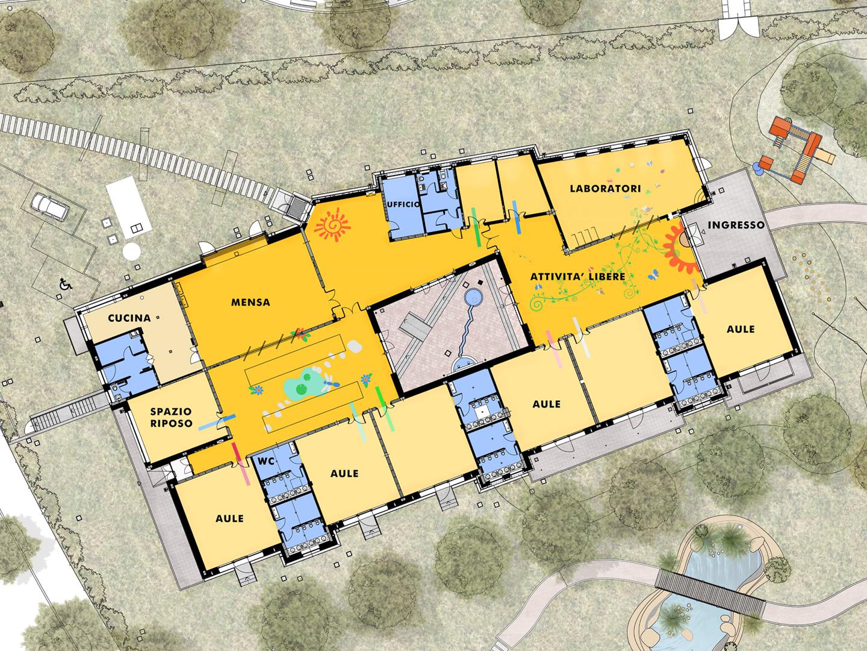 archiloco-scuola-sostenibile-levate-pavimento-colori-pianta-architettonica
